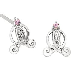 Sterling silver pink sapphire and diamond Cinderella carriage earrings, .01cttw. Find them at a jeweler near you: www.stuller.com/locateajeweler