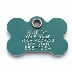 Pet ID Tag - Bone - Custom engraved cat and dog ID tags. Pet safety tag has reflective coating and is available in plastic...