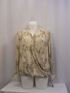 PLUS SIZE 14W Womens Top INC Animal Print Washed Crocodile V-Neck Long Sleeves #INCInternationalConcepts #Blouse #Clubwear