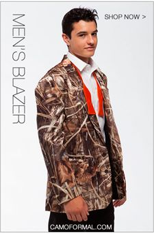 Boys and Mens' Camouflage Vest, Ties, and formals for prom and weddings. www.camoformal.com