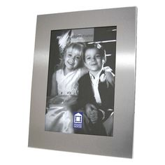 "8"" x 10"" Silver Brushed Picture Frame - Create A Favor"