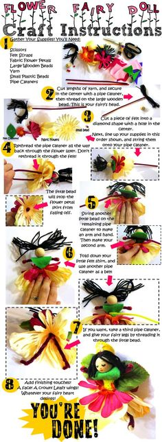 flower fairy craft: pipe cleaners, small beads, felt, yarn, fake flowers