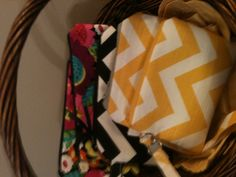 My handmade Chevron and print clutches and wristlets - great for a day out without the big purse!