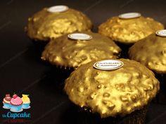 Cupcakes Choco-Avellana al estilo Ferrero Rocher® Bizcocho de avellana, corazón Nutella®/avellana entera, cobertura chocolate con leche/avellana crujiente.