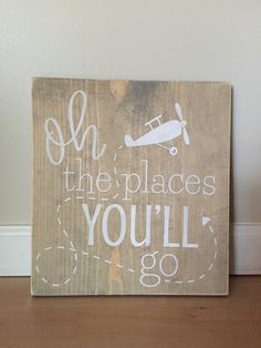Oh the places you'll go, nursery, gray nursery, little boys room, airplane by OurRusticNest on Etsy