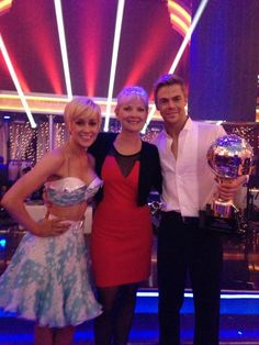 Kellie, Derek and Derek's mom celebrating their victory! #DWTS16