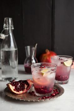 You can make a Pomegranate + Ginger Spritzer champagne cocktail to sip on using this holiday recipe.