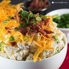 Loaded Baked Potato Salad from @CenterCutCook Loaded Baked Potato Salad, Potato Salad Recipe Easy, Potato Salad With Egg, Potato Recipes, Potato Ideas, Loaded Potato, Cat Recipes, Potato Dishes, Gourmet