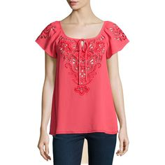 Nanette Lepore Short-Sleeve Embroidered Peasant Top ($278) ❤ liked on Polyvore