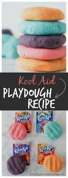 Kool Aid Playdough Recipe - This is the BEST playdough recipe ever!! It takes only 5 minutes, is easy-to-make, smells amazing, and is cheap too. This is the perfect homemade playdough recipe for kids activities (toddler, preschool, prek, kindegarten, firs