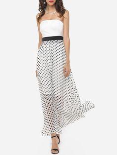 #Fashionmia - #Fashionmia Patchwork Polka Dot Captivating Tube Maxi-dress - AdoreWe.com