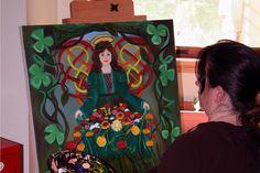 oil painting Irish Angel #artist Natalie Buske Thomas working at home