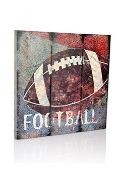 Football Sports Themed Canvas Wall Art for Boys Room Baby Nursery Dcor Kids Room Game room decor Vintage Style FootballBoys Gift by Green Frog Baby Large Size 18 x 18 ** Want additional info? Click on the image.