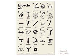 Poster:++Fahrrad+ABC+in+A2+von+Mia+Cartoleria+auf+DaWanda.com