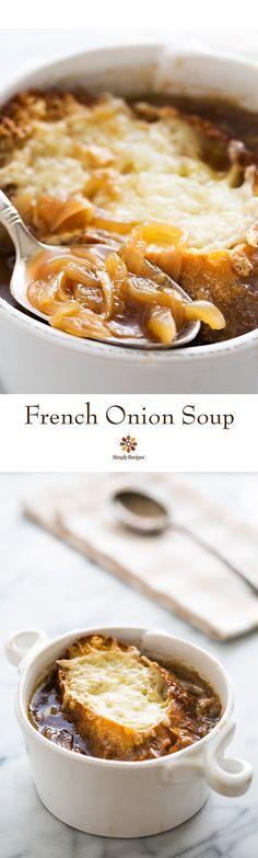 Stay warm with this GREAT French onion soup! With beef stock base, slow-cooked caramelized onions, French bread, gruyere and Parmesan cheese. On SimplyRecipes.com #OnionSoup #FrenchOnionSoup #Soup #WinterSoup
