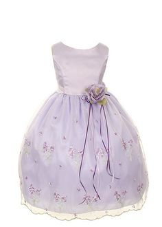 Kids Dream Embroider Sheer Organza Flower Girl Dress (Pink)