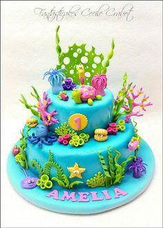 Ocean Birthday Cakes, Ocean Cakes, Beach Cakes, Birthday Cake Girls, Fondant Cakes, Cupcake Cakes, Cupcakes, Dolphin Cakes, Shark Cake
