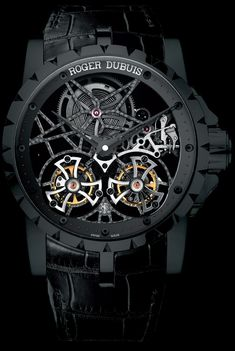 ROGER DUBUIS Excalibur Skeleton Double Flying Tourbillon in Black Titanium