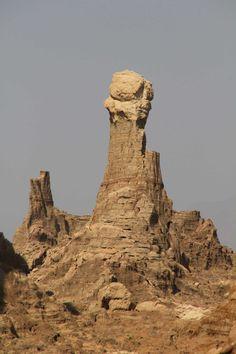 100s of meters high salt formations or salt hoodoo are found in Ethiopia's Dalol Depression