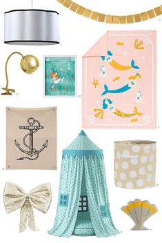 Mermaid room: soft, peachy pinks, sea-inspired aquas, and golden yellows along with feminine details such as bows and scallops. Mermaid Bedding, Mermaid Bedroom, Mermaid Nursery, Mermaid Quilt, Mileena, Mermaid Lagoon, Babe, My Home Design, Little Girl Rooms