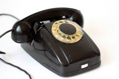Soviet rotary phone / Vintage black telephone / by vintageitscool, $58.90