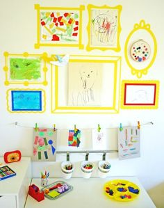 Sharing Our Kids Art Space Childhood - Sharing Our Kids Art Space I Have Been Collecting The Items Needed For A Little Art Space In Immys Playroom For Some Months Now The Table Storage Drawers Stools Came Together Easily With Our Kids Art Space, Art For Kids, Craft Space, Kid Art, Kids Work, Our Kids, Small Space, Art On Wall, Displaying Kids Artwork