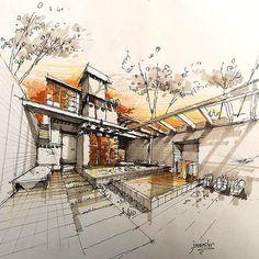 طراحی فضای ذهنی راندو با ماژیک و مدادرنگی Conceptual sketch _ design 40 min Marker & color pencil