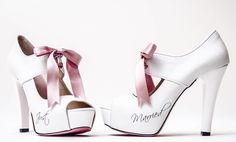 Bridal Shoes by Mine Atalar.... Just Married... Perché Non scriverlo anche sulle scarpe??
