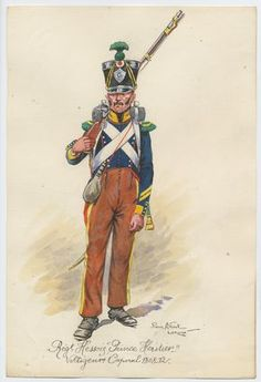 Grand Duchy of Hesse; Erbprinz Regiment of Infantry, Voltiguer Corporal, 1808-12 by P.A.Leroux