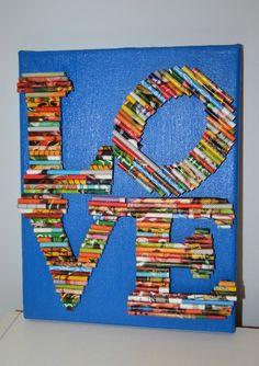 Mixed Media Art, LOVE via Etsy