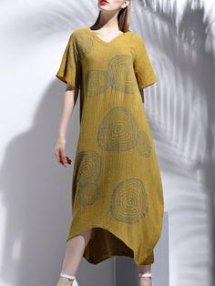 Shift V Neck Printed Casual Short Sleeve Midi Dress