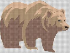 Brown Bear Cross Stitch Pattern ... no color chart available, just use pattern chart as your color guide.