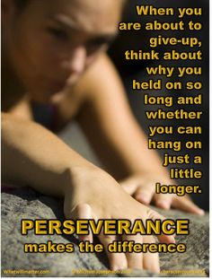 Perseverance Makes the Difference - What Will Matter
