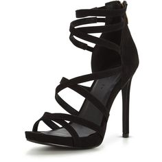 V By Very Lexi Strappy Heeled Sandal (470 ZAR) ❤ liked on Polyvore featuring shoes, sandals, high heel stilettos, stiletto high heel shoes, high heel shoes, high heeled footwear and heels stilettos