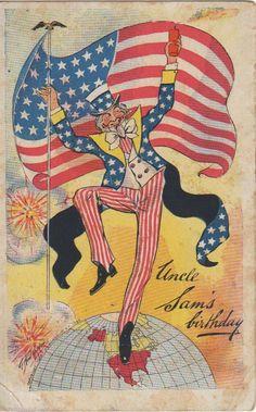 Uncle Sam's Birthday July 4th Copyright 1906 Osborne