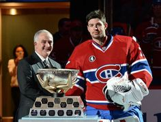 1.6.15 Carey Price receives the Molson Cup for the month of December in a ceremony prior to the game against the Tampa in the NHL game at the Bell Centre in Montreal. - Photo by Francois Lacasse NHLI via Getty Images