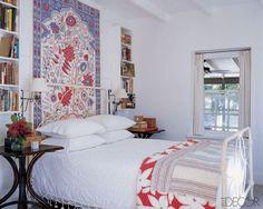 A guest bedroom of interior designer Tom Scheerer's vacation home in the Bahamas.