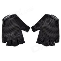 SAHOO 41214 Cycling Breathable Mesh Cloth Half Finger Glove - Black (XL) Price: $6.30