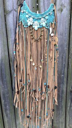 Handmade Tan Suede Leather Cross Body Bag Hippie Fringe Boho Hobo Purse B.Joy #Handmade #MessengerCrossBodyShouldBag