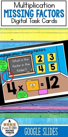 Digital Self-Checking Task Cards are a great way to help your students learn and practice their skills. This set focuses on Multiplication by giving one factor and the product. Students need to choose the other correct factor from 4 choices. This deck features multiple choice questions. Repeated Addition Multiplication, Math Addition, Multiplication Facts, Math Facts, Math Fact Practice, Nonfiction Text Features, Math Practices, Multiple Choice, Center Ideas