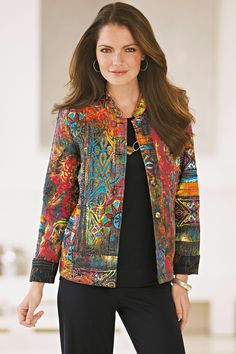 Quilted patchwork jacket is also reversible (from www.chadwicks.com)