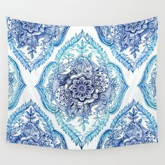 Indian Ink - in Blues Wall Tapestry