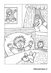 Kleurplaat Wakker Worden Met Sneeuw Kleuteridee Snow Wake Up Preschool Coloring