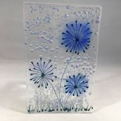 Floral Glass Plaque, Candle Display, Blue flowers, Fused Glass, Home Decor, Birthday Present, New Home Gift, Mothers Day Gift by WarmGlassFusion on Etsy
