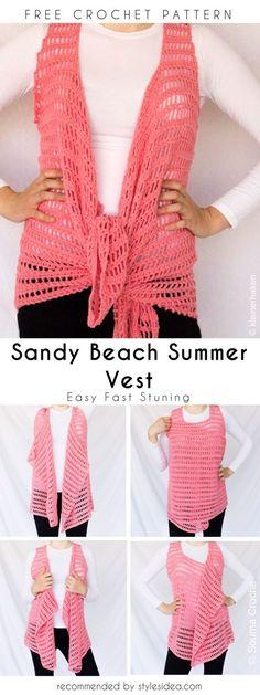 Sandy Beach Summer Vest Free Crochet Pattern   Crafts Ideas