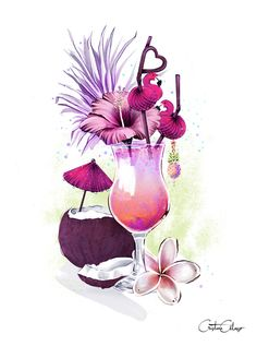 'Born in Paradise'🍹 This eye candy cocktail would be perfect for this hot Monday! I love experimenting with tropical colors. Watercolor Drawing, Watercolor Paintings, Illustrations, Illustration Art, Arte Fashion, Food Drawing, Art Drawings Sketches, Pretty Art, Cartoon Art