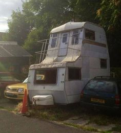 A double decker camper! Might be a little tough to haul this baby down the highway.