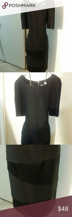 GORGEOUS BLACK PROFESSIONAL DRESS **NWOT** This dress has never been worn, expensive looking high profile business or formal wear. 41' long 18 1/2 breast stretched flat,13' sleeve, back zipper, 85% tri-acetate 15% polyester. Bottom has a touch of satin. Very pretty dress! Dresses Midi