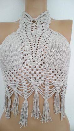 Beige Crochet halter top,new bandeau top,hippie style top,beach wear,festival top,summer hippy top-Crochet Hippie Fringe Halter Top