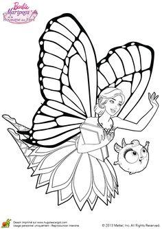 coloriage de barbie qui vole avec son ami zee en direction de la bibliothque du royaume